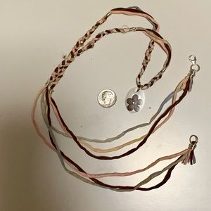Jewelry - Boho silk and silver necklace